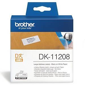 Étiquettes d adresse Brother DK-11208, 38 x 90 mm, blanc, paq. 400unités
