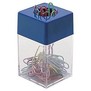 Büroklammernspender, mit 40 Büroklammern, transparent/blau