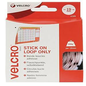 Velcro Brand Loop Pre-Cut Self-Adhesive Coins 19mm - Pack of 125