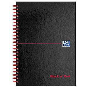 Oxford Black n  Red A5 Glossy Hardback Wirebound Notebook Ruled 140 Pages Black