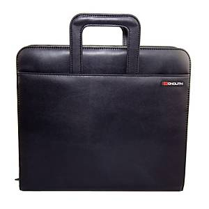 Monolith Drop Handle Black Conference Folder With 4 Ring Binding