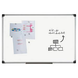 Tableau blanc émaillé Bi-Office Maya W - magnétique - 90 x 120 cm