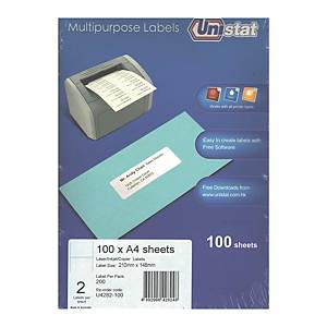 Unistat 多用途標籤 U4282 210 x 148毫米 每張2個標籤
