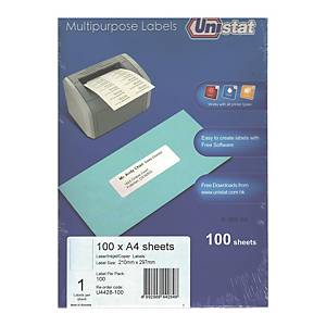 Unistat U4428 Label 210 x 297mm - Box of 100 Labels