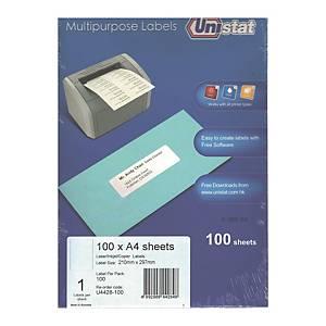 Unistat 多用途標籤 U4428 210 x 297毫米 每張1個標籤
