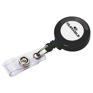 DURABLE BADGE REEL WITH METAL CLIP AND 600MM RETRACTABLE CORD - BOX OF 10