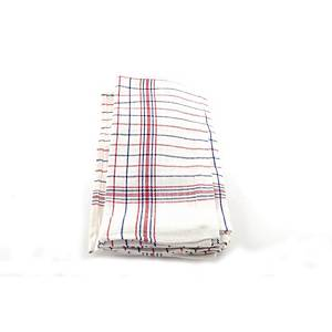 Theedoek in gestreept katoen, blauw/wit/rood, pak van 6 handdoeken