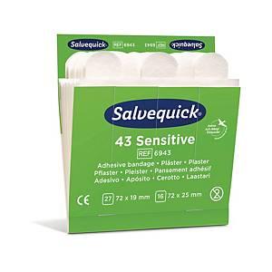 Plaster Salvequick Sensitive, non-woven, æske a 6 sæt