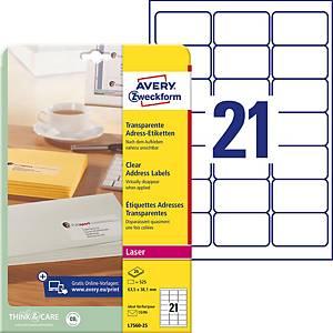 Étiquettes Avery Zweckform L7560,63,5 x 38,1 mm, laser, transp., 525unités