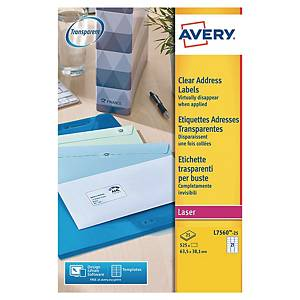 Avery L7560 clear labels 63,5x38,1mm - box of 525