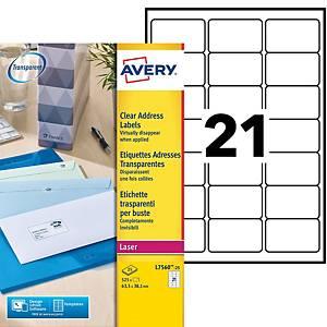 Etiquette adresse Avery - L7560-25 - 63,5 x 38,1 mm - transparente - par 525