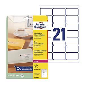 Avery L7560-25  Labels, 63.5 x 38.1 mm 21 Labels Per Sheet, 525 Labels Per Pack
