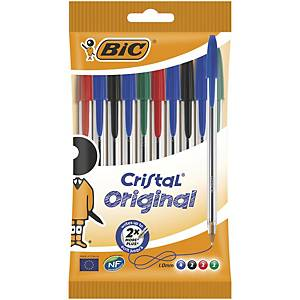 Bic Cristal Ball Point Assorted Pens 0.4mm Line Width - Box of 10