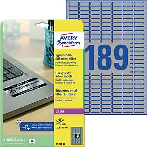 Typenschild-Etiketten Avery Zweckform L6008-20, 25,4x10mm (LxB),silber, 3780 St.