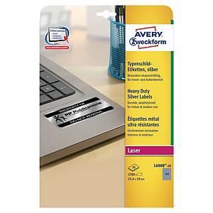 Étiquettes d'inventaire Avery L6008, argent, 25,4 x 10 mm, les 3.780 étiquettes