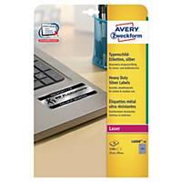 Avery L6008 inventaris etiketten, zilver, 25,4 x 10 mm, doos van 3.780