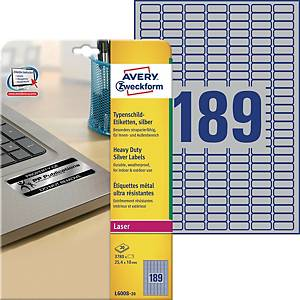 Avery L6008-20 Resistant Labels, 25.4 x 10 mm 189, Labels Per Sheet