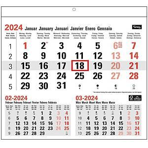 Calendrier mensuel, six langues, 29 x 28 cm