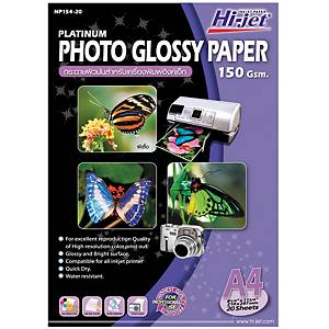 HI-JET PLATINUM Photo Glossy Paper A4 150G Pack of 20