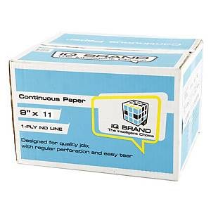 IQ CONTINUOUS PAPER 1 PLY PLAIN 9   X 11   - BOX OF 2,000 SHEETS