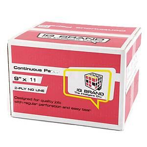 IQ กระดาษต่อเนื่อง 2ชั้น 9X11 นิ้ว 1 กล่อง 1000ชุด