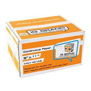 IQ กระดาษต่อเนื่อง 3 ชั้น 9X11 นิ้ว 1 กล่อง 500ชุด
