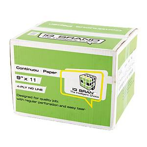 IQ CONTINUOUS PAPER 4 PLY PLAIN 9   X 11   - BOX OF 500 SHEETS