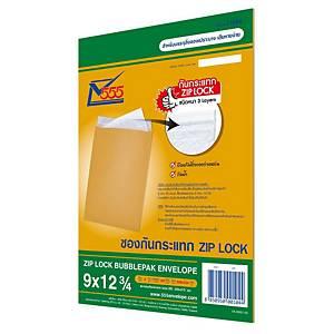 555 Bubblepack Zip Lock Envelope KA Karft 229X329mm 125Gram - Pack of 2