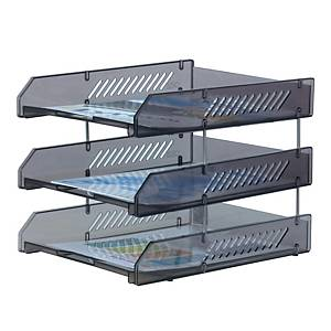 ORCA L3 LETTER TRAY 3 LEVELS GREY/CRYSTAL