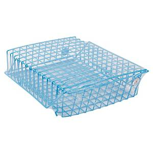 ORCA STACKABLE WIRE LETTER TRAY 2 LEVEL PLASTIC COATED BLUE
