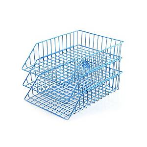 ORCA 88 Stackable Wire Letter Tray 3 Levels Plastic Coated Blue