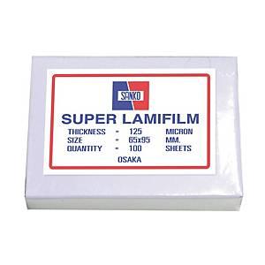 SANKO พลาสติกเคลือบบัตร65 X 95 มม. 125 ไมครอน 100 แผ่น