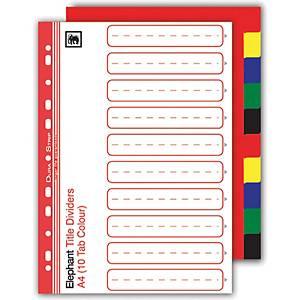 ELEPHANT 320 Plastic Paper Divider A4 1-10 Part 5 Colours