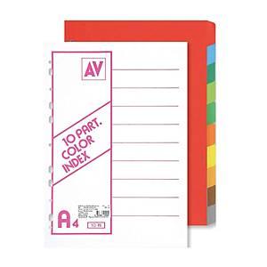 AV Cardboard Divider A4 10 Tabs 10 Colours