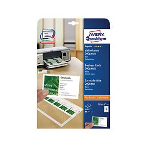 Cartes de visite Avery Zweckform C32011, 85 x 54 mm, blanc, paq. 250 unit.