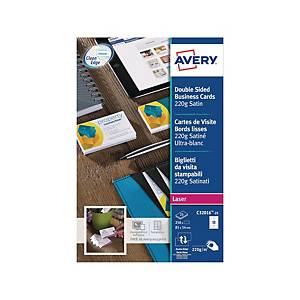 Cartes de visite Avery Zweckform C32016, 85 x 54 mm, laser, blanc, 250 unit.