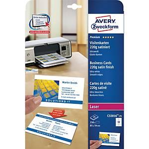 Premium Visitenkarten Avery Zweckform C32016-25, 85x54mm, 220g, satiniert, 250St