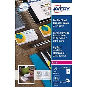 Cartes de visite laser Avery C32016, 85 x 54 mm, 220 g, satin, la boîte de 250