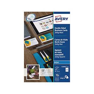 Cartes de visite Avery Zweckform C32015, 85x54mm, jet d encre, blc, 250 unit.