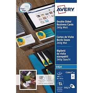 Visitkort Avery Quick&Clean, til inkjetprinter, æske a 200 stk.