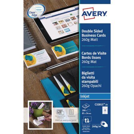 Avery C32015 Cartes De Visite Jet Dencre 85x54mm 260g