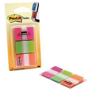 Marque-pages Post-it onglets rigides - coloris néon - 3 x 22 feuilles