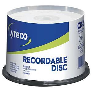 CD-R Lyreco 700 Mo (80 min.), vitesse 52x, cloche de 50