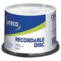 Lyreco Cd-r, 700 MB (80 mn), spindle, pak van 50