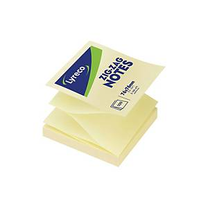 Sticky Notes Lyreco ZigZag, 76 x 76 mm, gul
