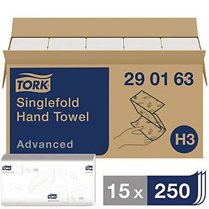 Serviette Tork Advanced Soft Singlefold, 2 épaisseurs, 15 x 250 serviettes
