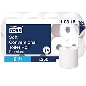 Piccolo rotolo di carta igienica Tork 3 veli, conf. da 8 rotoli