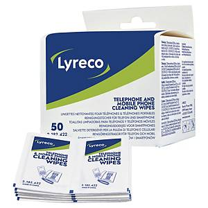 Lyreco doekjes voor reiniging van telefoons en laptops, doos van 50 doekjes