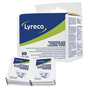 Chiffonnette Lyreco pour téléphone - pré-imprégnée - boîte de 50