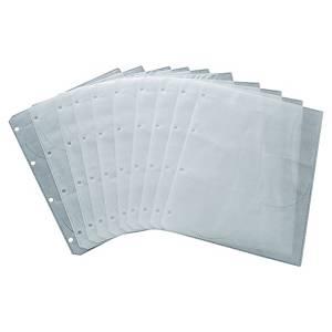 CD/DVD tasak, lefűzhető, átlátszó, 10 db/csg